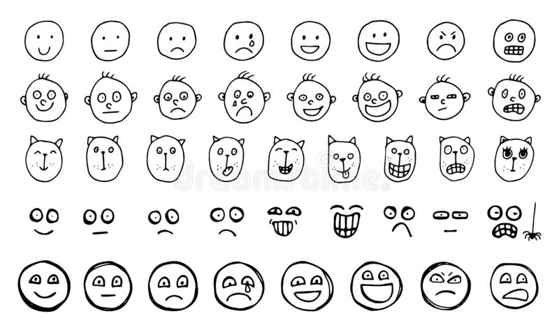 Set of Hand Drawn Creative Vector Emoticons or Sketched Human and Animal Smiles stock illustration