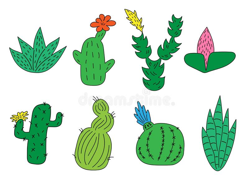 Set of hand drawn cute funny cacti and succulents. Isolated objects on white background. for icons, emoticons, stickers. royalty free illustration