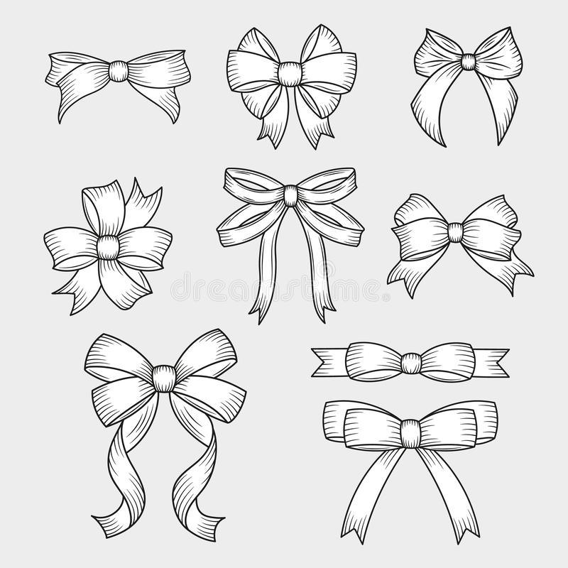 Set of hand drawn decorative bows. Decoration for traditional holidays and gift boxes. Vector illustration. vector illustration
