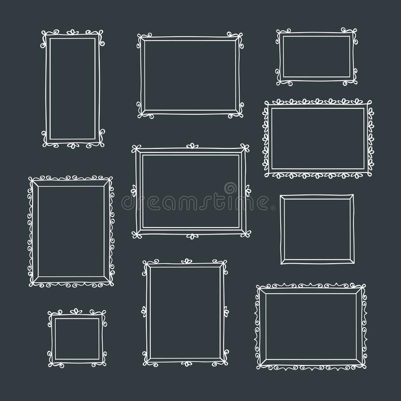 Set of hand drawn decorative square photo frames. Vintage frames. Hand drawn with chalk on the black chalkboard. Doodles, sketch for your design. Vector royalty free illustration