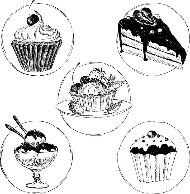 Set of hand drawn desserts stock vector image of icecream - Dessert dessin ...