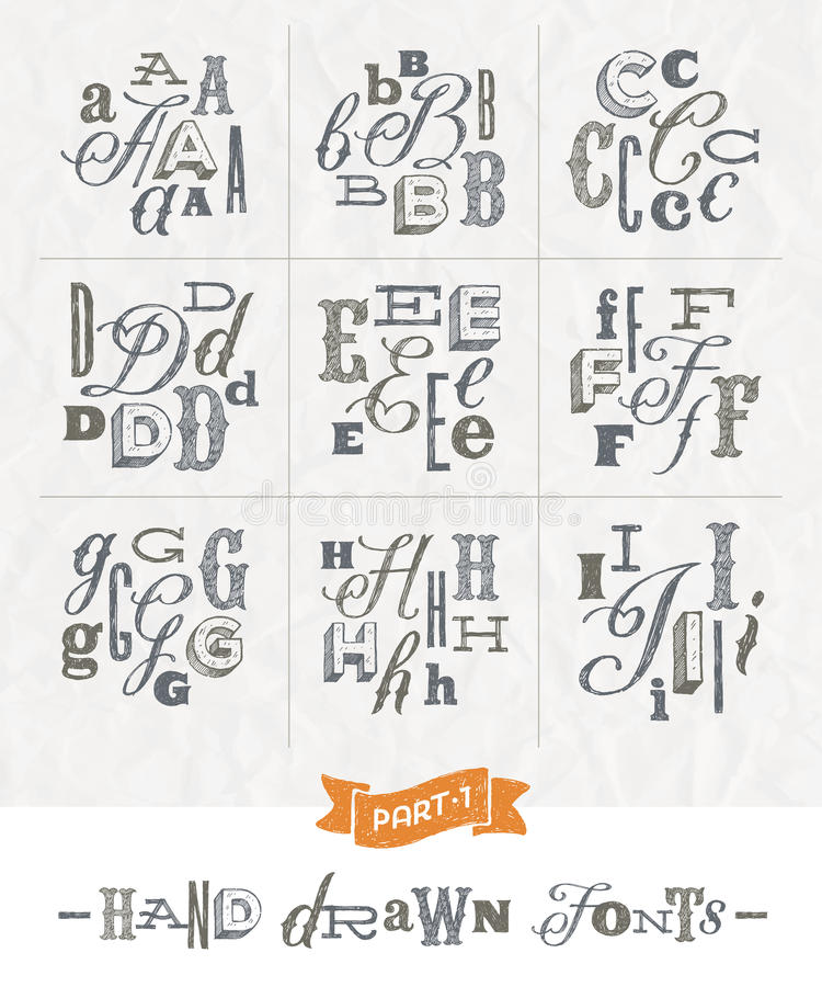 Set of Hand drawn different fonts. For a headlines - Part one vector illustration