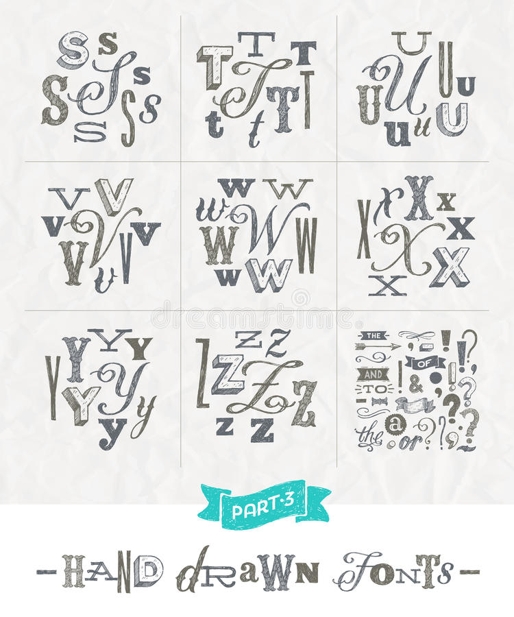 Set of Hand drawn different fonts. For a headlines - Part three vector illustration