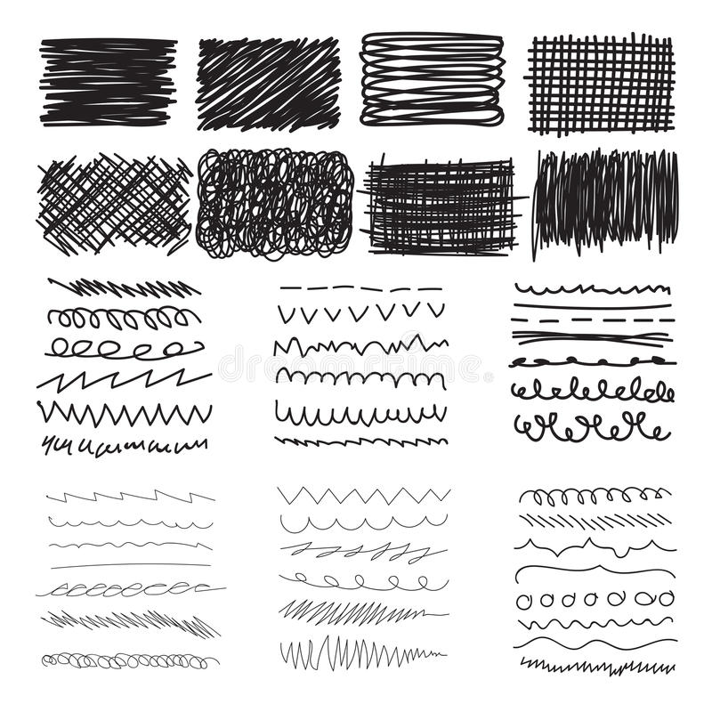 Set of hand drawn doodle banners, strokes and ink texture stock illustration