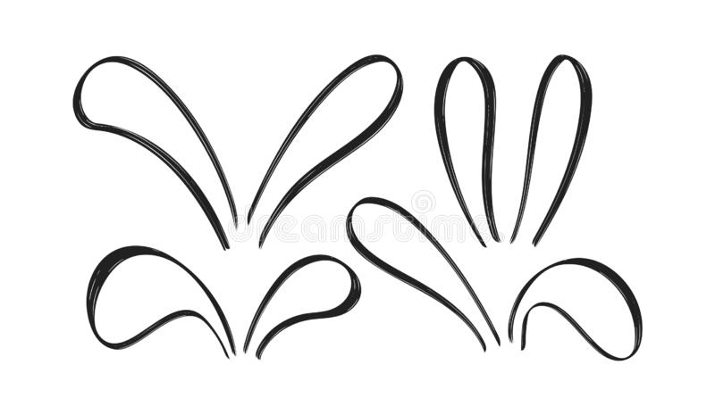 Set of Hand Drawn doodle bunny ears on white baclground. Sketch line Easter decoration. Vector illustration: Set of Hand Drawn doodle bunny ears on white vector illustration