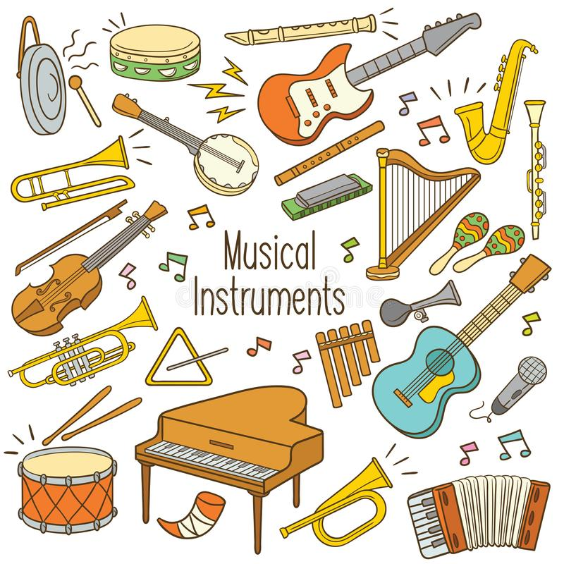 Doodle musical instruments royalty free illustration