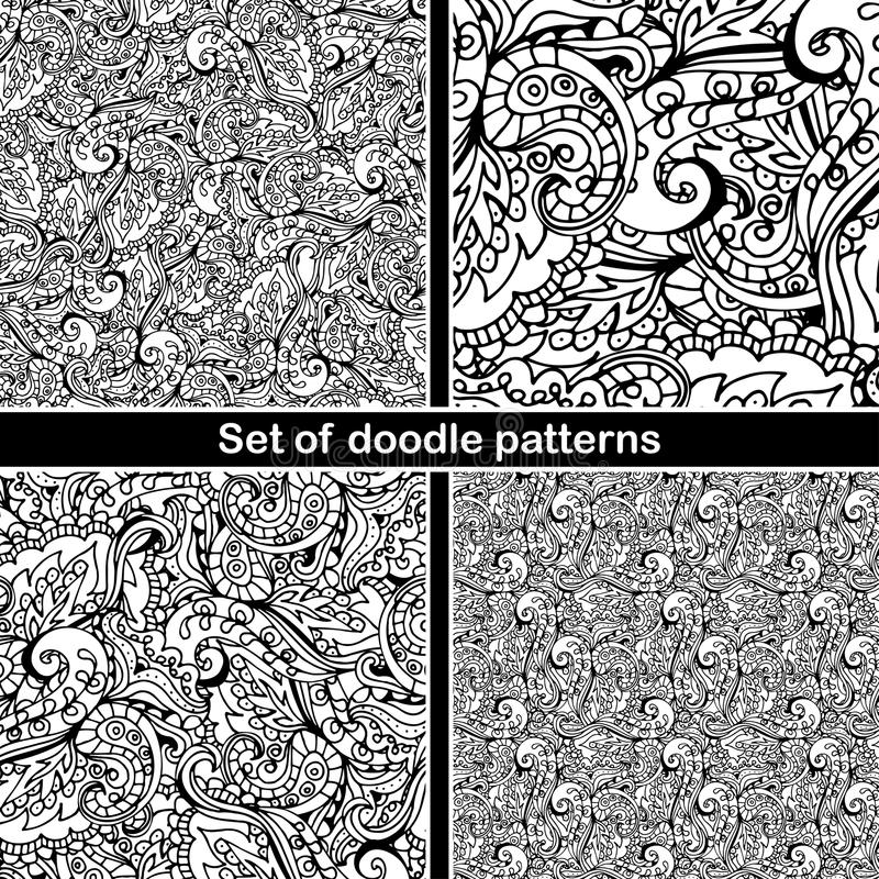 Set of hand drawn doodle pattern in vector. Zentangle background. Seamless abstract texture. Ethnic doodle design with henna royalty free illustration
