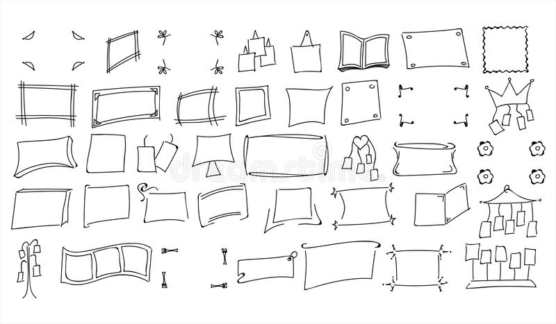 Set of hand drawn doodle style photo frames vector illustration