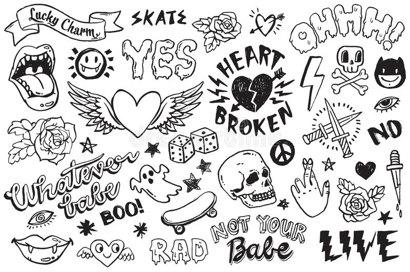 A set of hand drawn doodles. A set of graffiti doodles suitable for decoration, bagdes, stickers or embroidery. Vector illustrations stock illustration