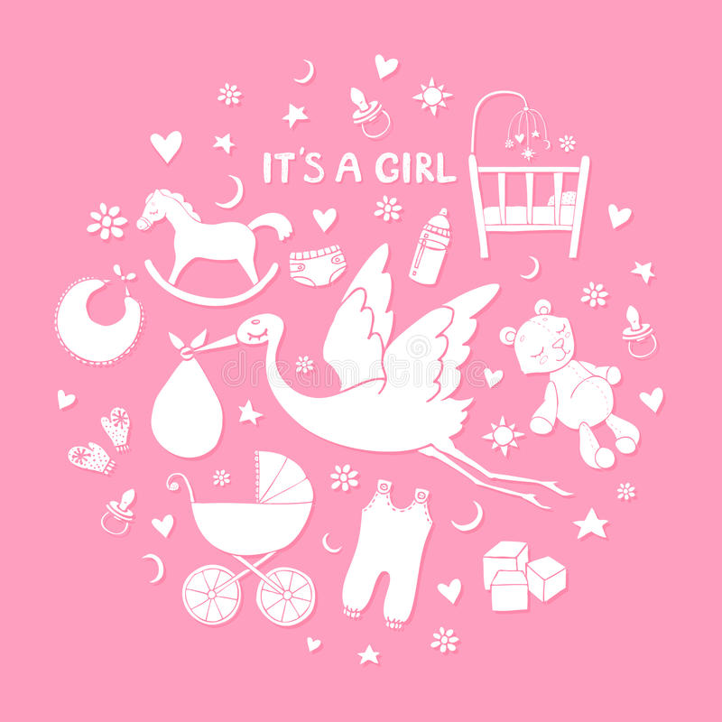 Set of hand drawn elements. Baby girl stuff. Collection of vector cute icons stock illustration