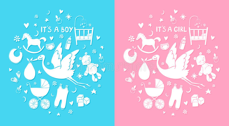 Set of hand drawn elements. Baby stuff. Vector cute icons. It`s a boy and girl stock illustration