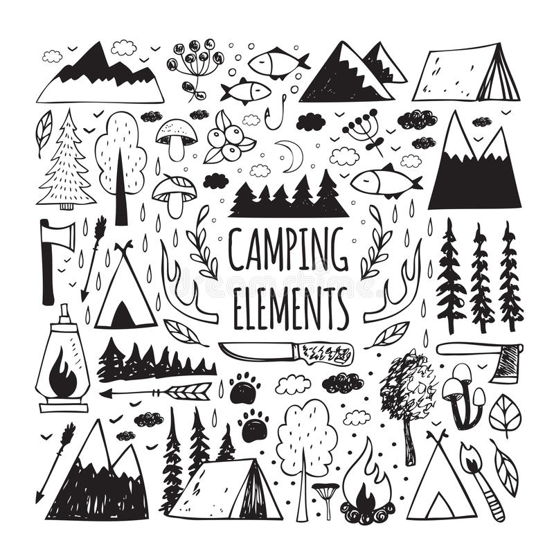 Set of hand-drawn elements for design logo camping royalty free illustration
