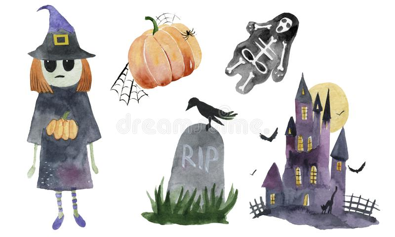 Watercolor Halloween Set. Cute illustrations for Halloween. royalty free stock photo
