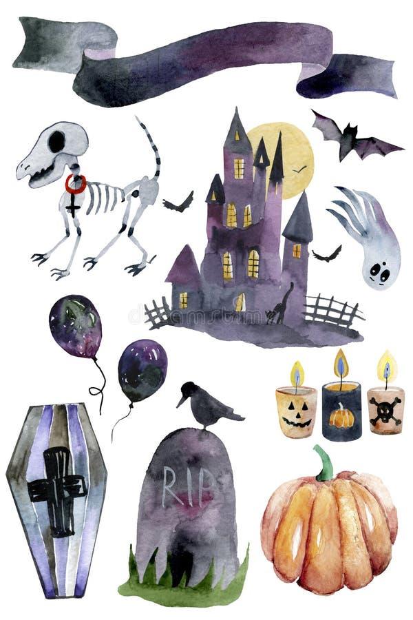 Watercolor Halloween Set. Cute illustrations for Halloween. stock photos