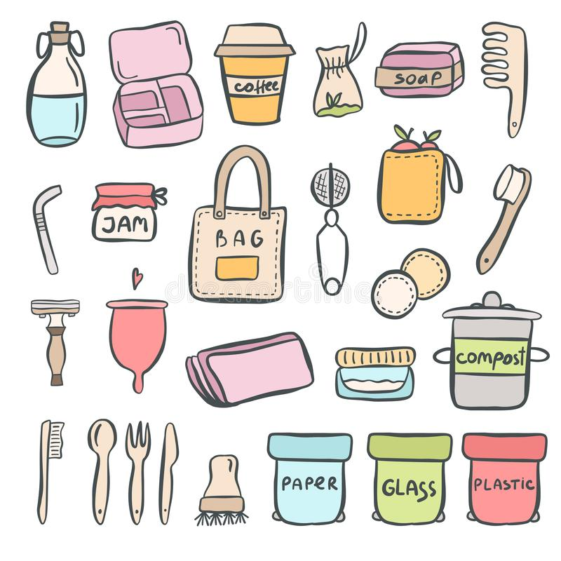 Set of hand drawn elements of zero waste life. With lettering. Eco style. No plastic. Vector illustration royalty free illustration