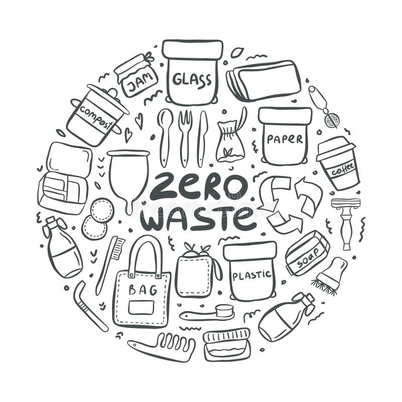 Set of hand drawn elements of zero waste life. With lettering slogan. Eco style. No plastic. Vector illustration stock illustration