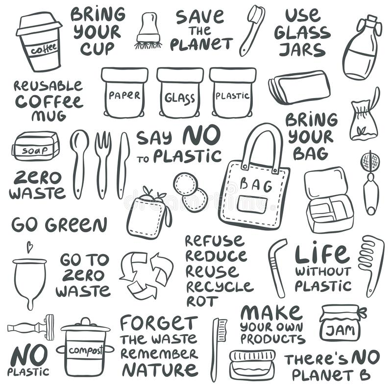Set of hand drawn elements of zero waste life. With lettering slogan. Eco style. No plastic. Vector illustration royalty free illustration