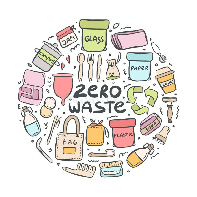 Set of hand drawn elements of zero waste life. With lettering slogan. Eco style. No plastic. Vector illustration vector illustration