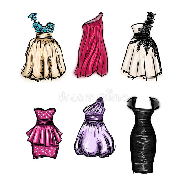 Set of hand drawn evening and prom dresses stock illustration