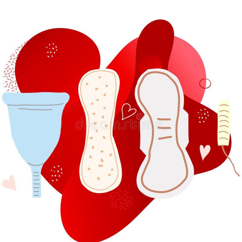 Set of hand drawn feminine hygiene products. Feminine hygiene concept. Women health. Menstrual cup, sanitary pad, tampon in flat cartoon style vector stock illustration