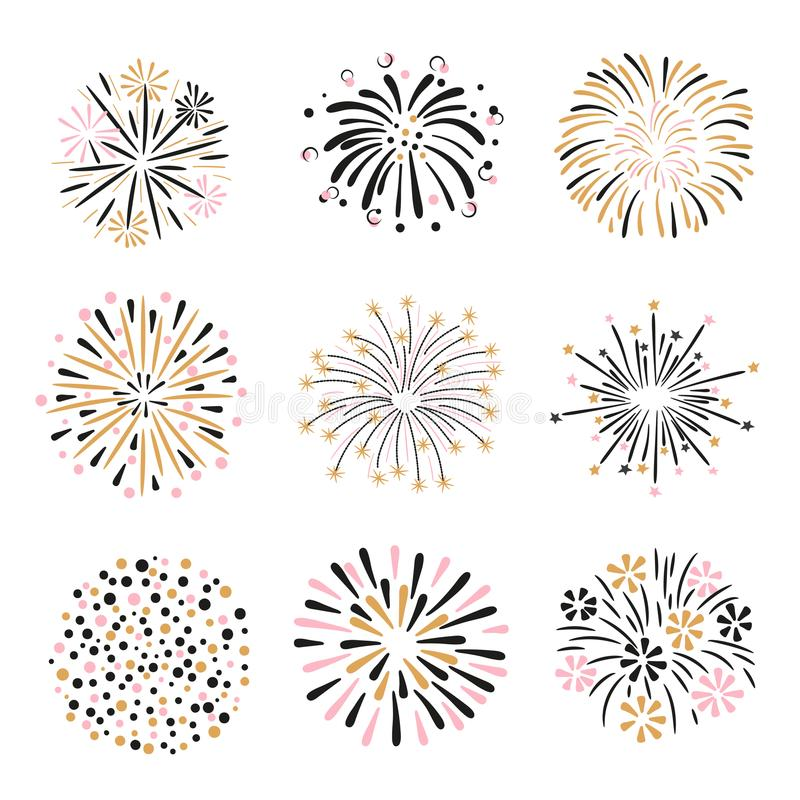 Set of hand drawn fireworks in pink, golden and black colors vector illustration