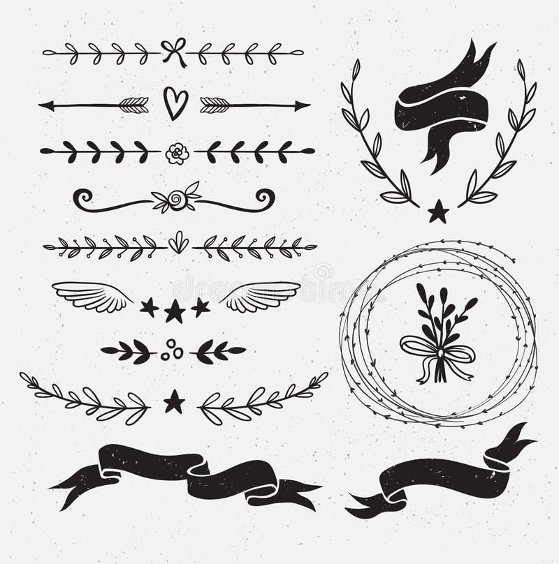 Set of hand drawn floral frames and dividers. vector illustration