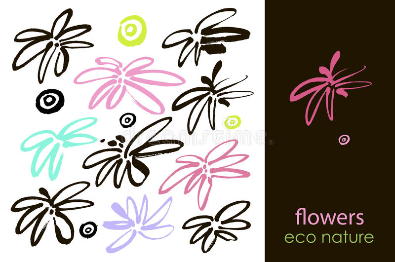 Set of hand drawn flowers, green leaf, sketches and doodles of pink flowers and plants, flowers vector collection royalty free illustration