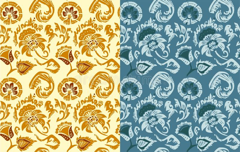Set of hand drawn flowers patterns in Russian style royalty free illustration