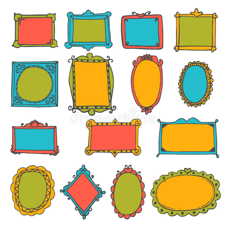 Set of hand drawn frames. Cute decorative elements royalty free illustration