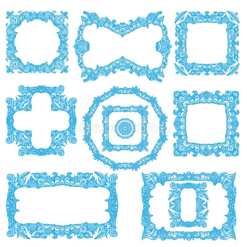 Set of hand drawn frames. Vector illustration. royalty free illustration