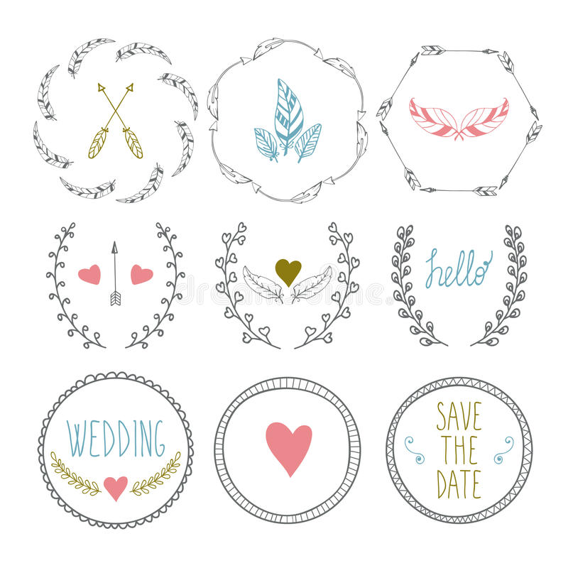 Set Of Hand Drawn Frames With Wedding Decorative Elements Stock ...