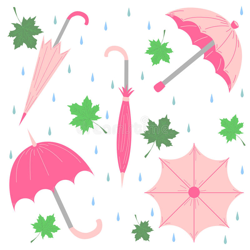Set of Hand Drawn Glamorous Pink Umbrellas, Maple Leaves and Drops. Perfect for Print. Flat Umbrellas. Vector Illustration stock illustration