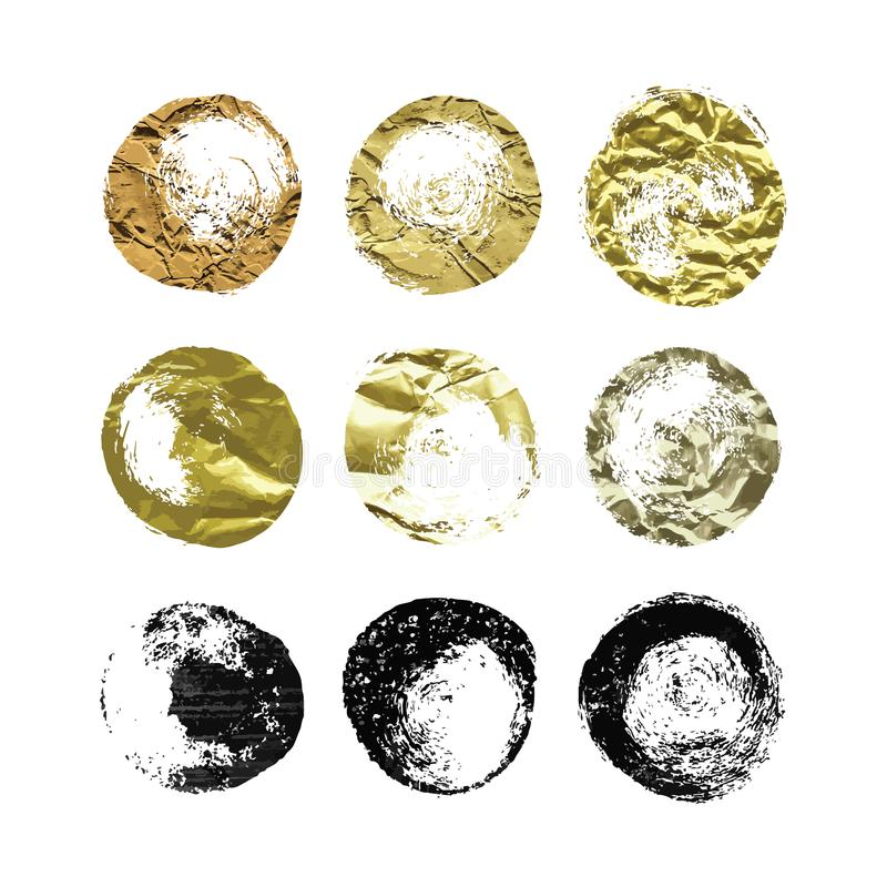 A set of hand drawn glitter, foil brush spots and splashes, ink and paint textures design elements. Gold and Black glittering grungy circles isolated on white royalty free illustration