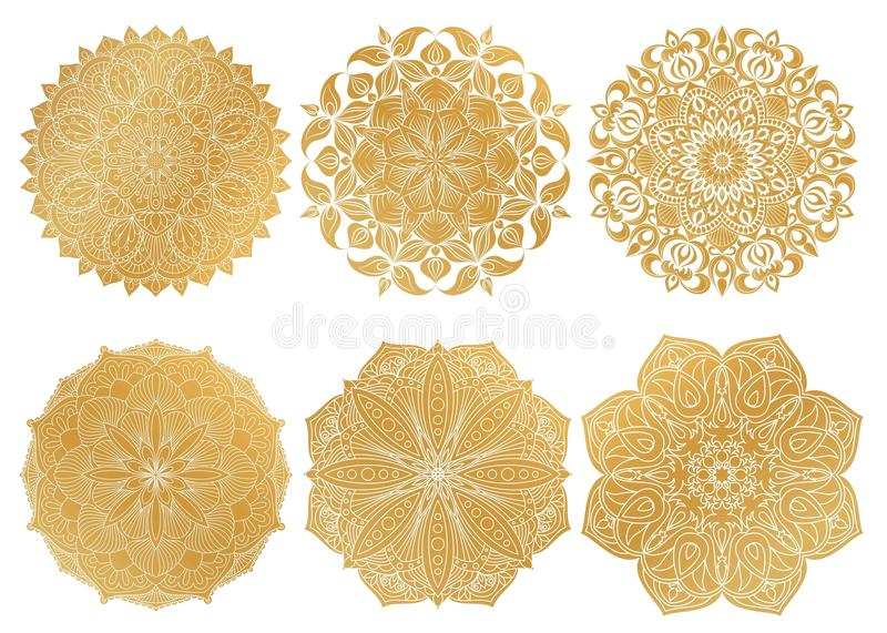 Set of 6 hand-drawn gold Arabic mandala on white background.Ethnic ornament. stock illustration