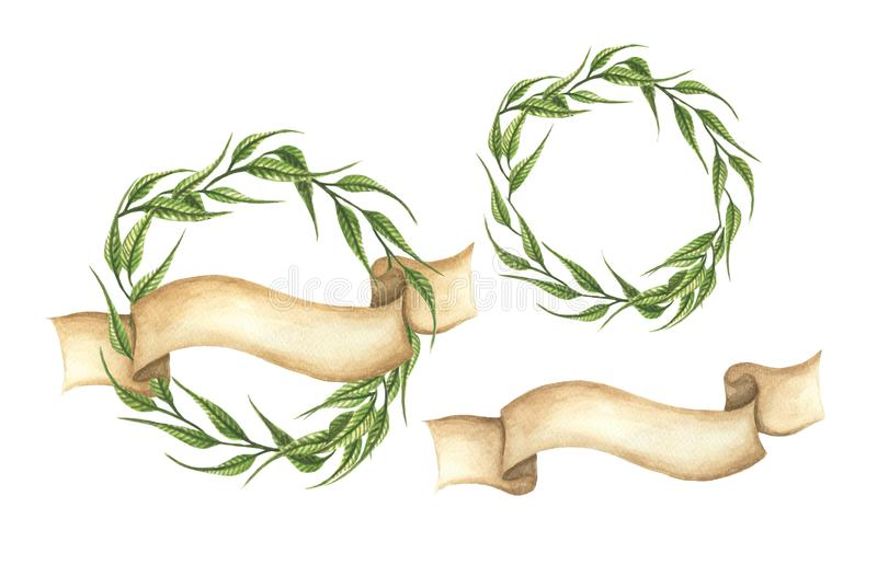 Set of hand drawn green leaves wreaths with ribbon. stock illustration