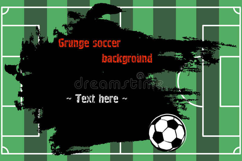 Set of hand drawn grunge banners with soccer ball royalty free illustration