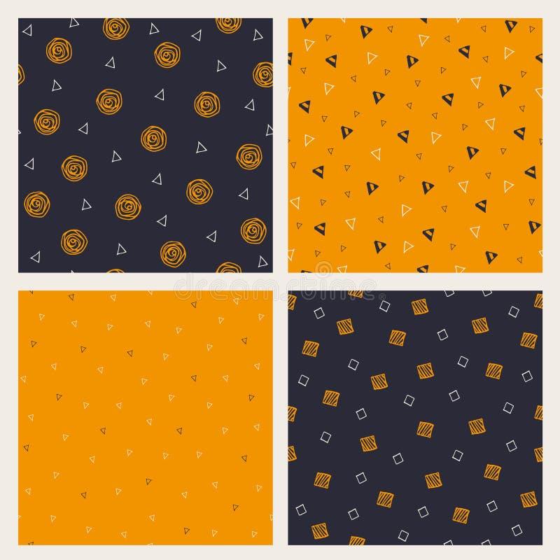 Set of hand drawn Halloween seamless patterns stock illustration