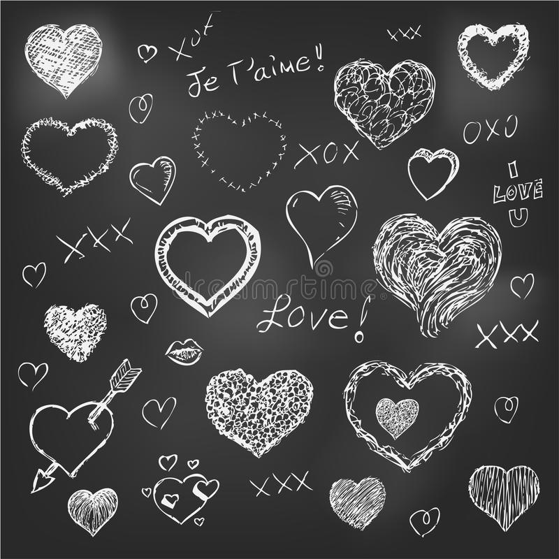 Set of hand drawn hearts on chalkboard background stock illustration