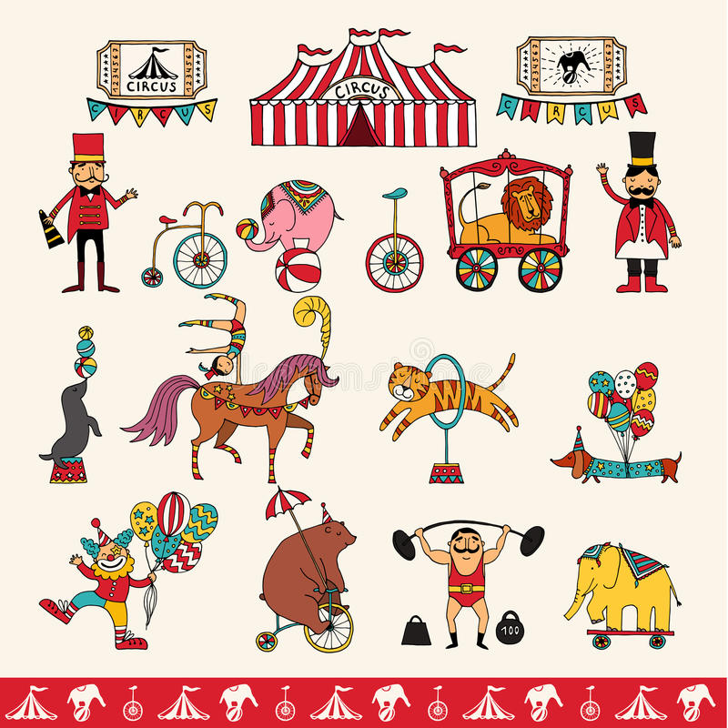 Set of hand-drawn icons on a circus theme. vector illustration