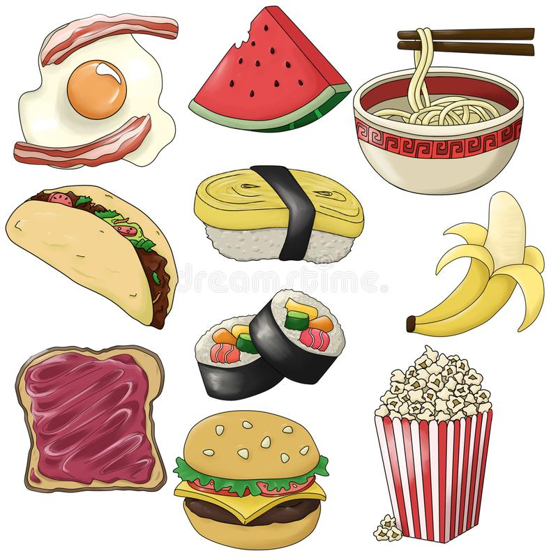 Set of Hand drawn icons of Foods - Illustration. Set of Hand drawn icons of different types of Foods - Illustration - raster illustration stock illustration