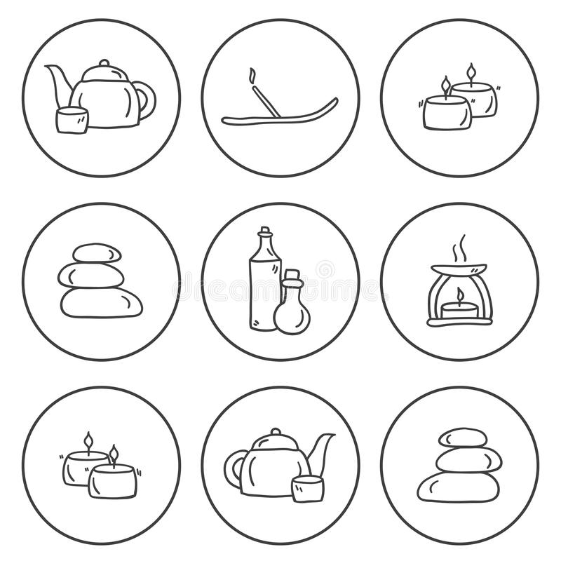 Set of hand drawn icons on spa theme. For your design royalty free illustration