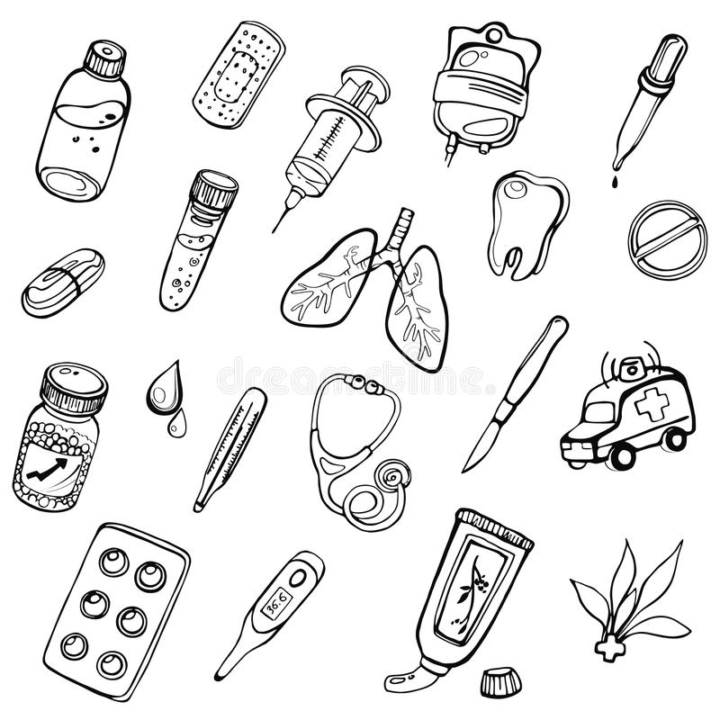 A set of hand-drawn icons on a theme medicine vector illustration