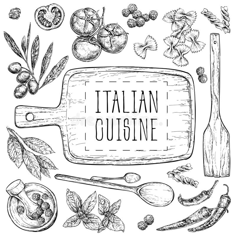 Set with hand drawn illustrations of food. Italian cuisine. Perfect for menu, cards, blogs, banners. vector illustration in vintag royalty free illustration