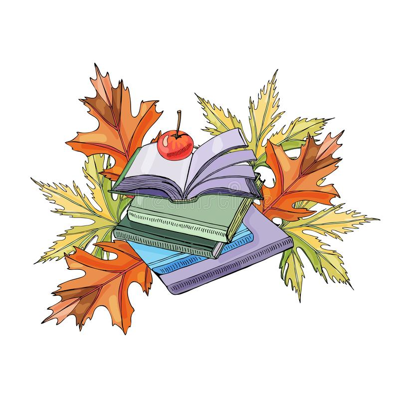 Set of  hand drawn ink and colored  sketch with books, autumn leaves and apple for green press or education projects. royalty free illustration