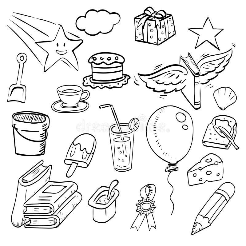 Set of hand drawn ink doodle, cartoon sketch drawing illustration royalty free illustration