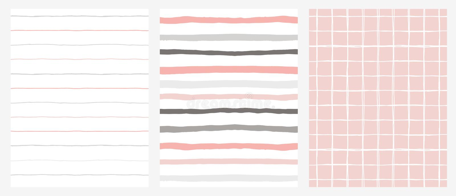 Set of 3 Hand Drawn Irregular Geometric Patterns. Stripes and Grid. Grey, Pink and White Design. royalty free stock photography