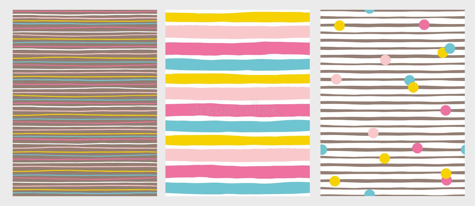 Set of 3 Hand Drawn Irregular Striped Vector Patterns. Colorful Stripes and Dots. stock illustration