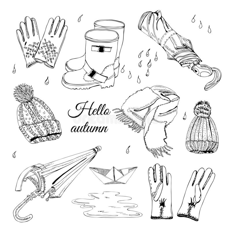 Set with hand drawn of items of autumn clothes, drops, puddle and paper boat. Monochrome  ink sketch elements. stock illustration
