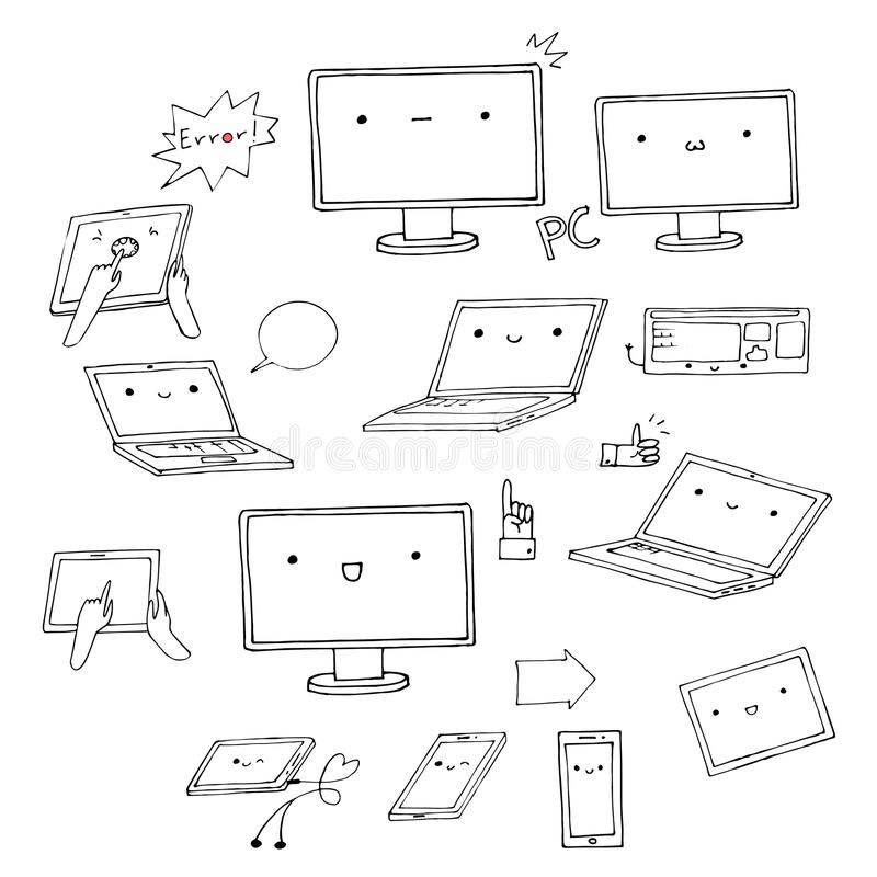 Set of hand-drawn kawaii gadgets royalty free illustration
