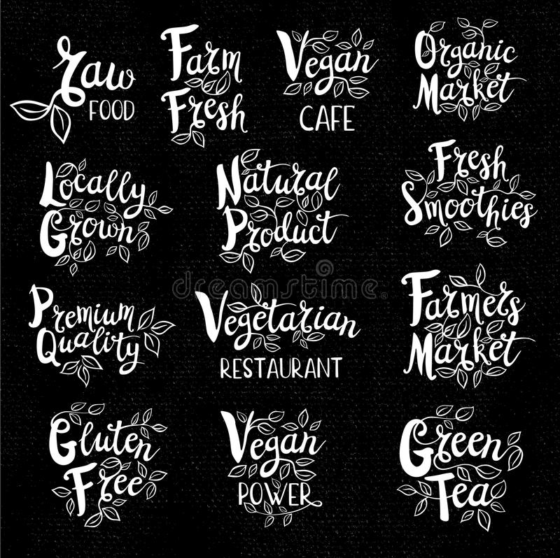 Set of hand drawn labels food, spices. Set organic logo, lettering design, calligraphy logotype, leaf, set of stickers, green labels Eco, bio, locally grown royalty free illustration
